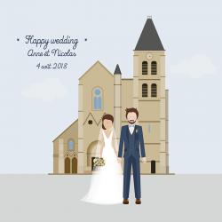 dessin personnalisé mariage
